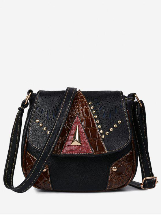 women Geometric Hollow Out Rivet Crossbody Bag - BLACK