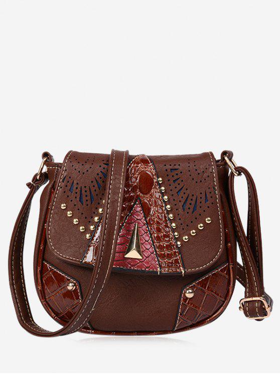 ladies Geometric Hollow Out Rivet Crossbody Bag - BROWN