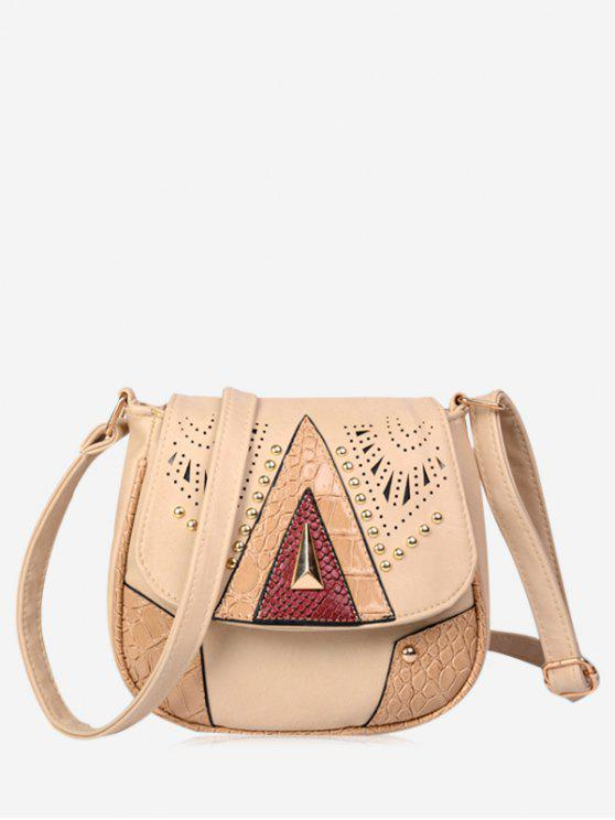 online Geometric Hollow Out Rivet Crossbody Bag - BEIGE