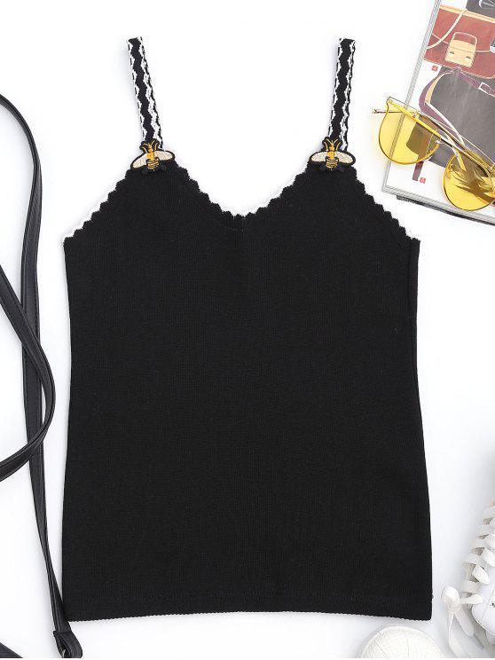 بلوزة محبوكة مزينة برقع - أسود مقاس واحد