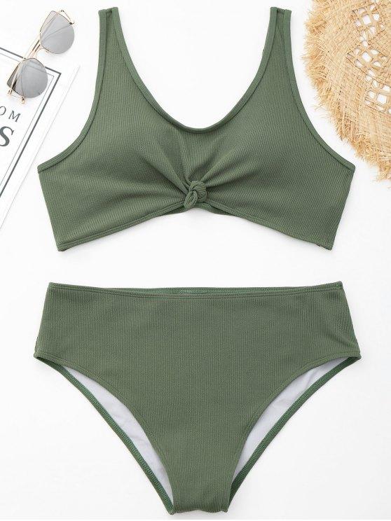 Bikini ancho con nervaduras Plus Size - Verde XL