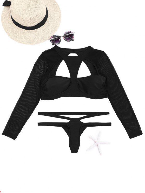 قطع عالية الرقبة اثنين من قطعة ملابس السباحة - أسود M
