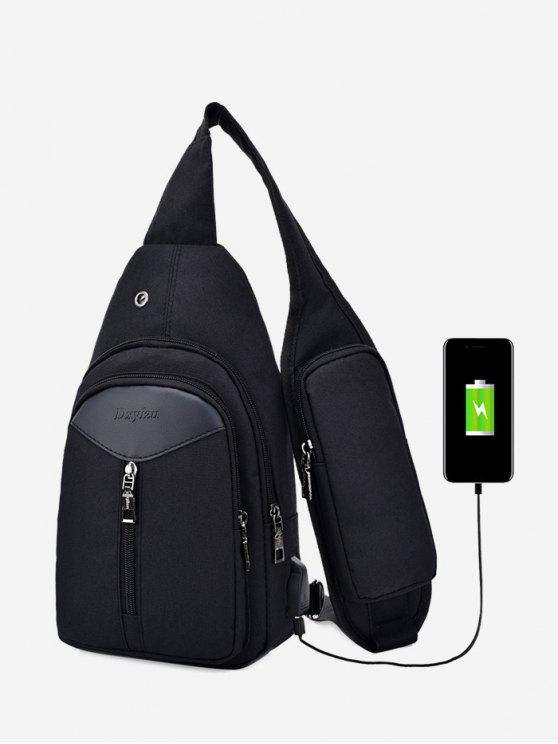 new Headphone Hole USB Charging Port Chest Bag - BLACK