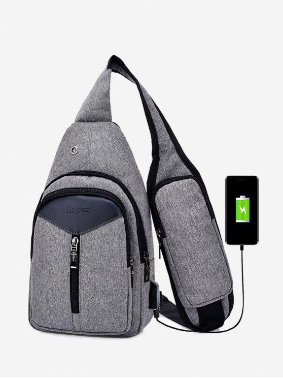 hot Headphone Hole USB Charging Port Chest Bag - GRAY