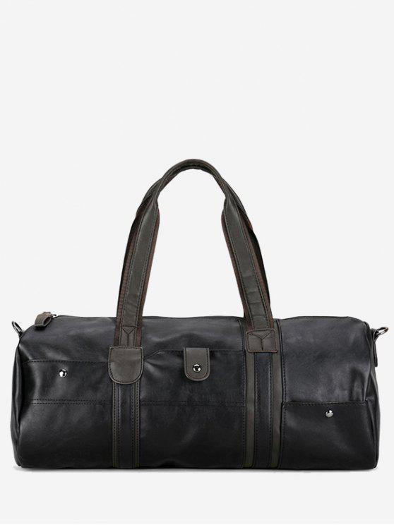 best Faux Leather Cross Body Weekend Bag - BLACK