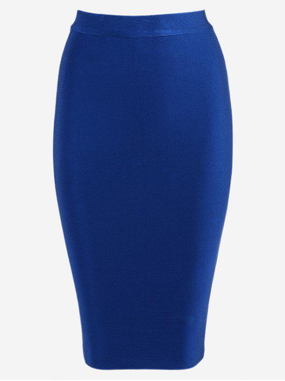 outfits High Waist Plain Bodycon Skirt - BLUE S