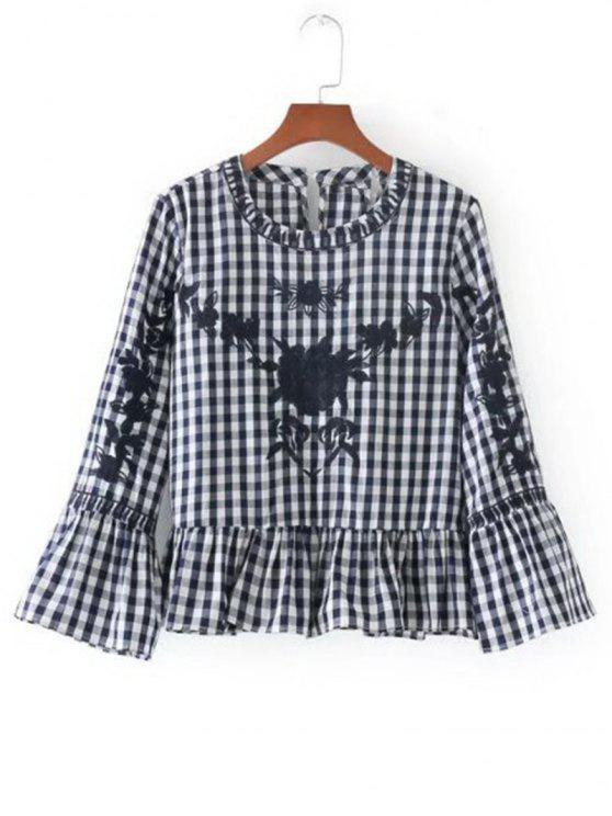 outfit Flounces Checked Embroidered Blouse - BLACK L