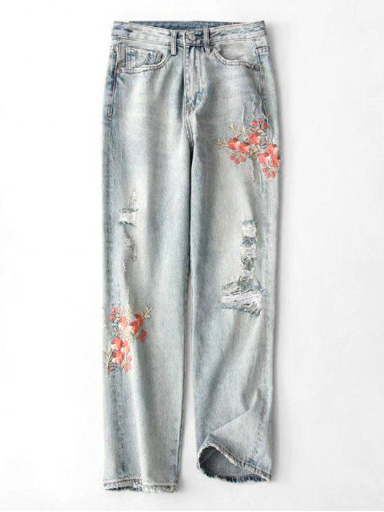 chic Floral Embroidered Ripped Tapered Jeans - DENIM BLUE M