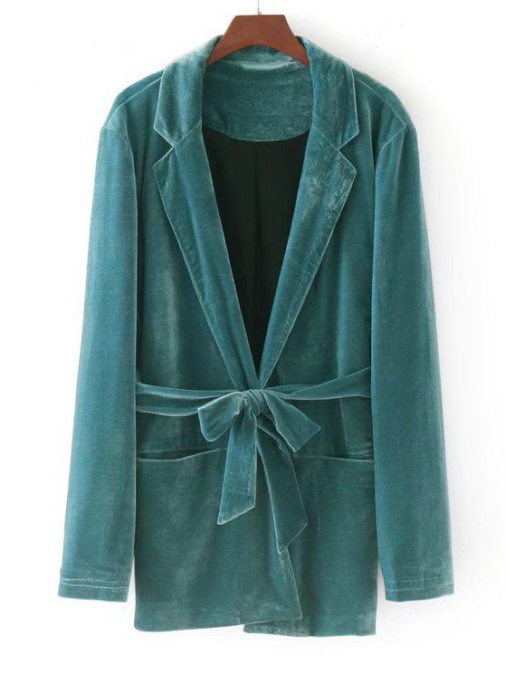 chic Velvet Belted Blazer - GREEN S