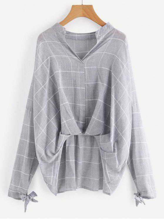 lady Gathered Plaid High Low Blouse - GRAY M