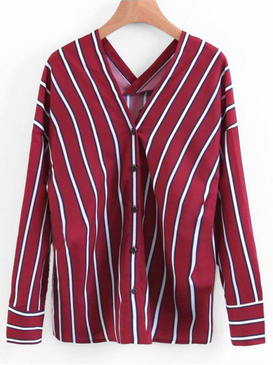 lady Button Up V Neck Striped Blouse - DEEP RED S