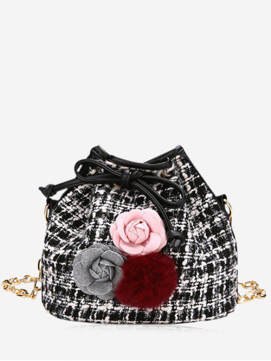 hot Flower Pom Pom Plaid Drawstring Crossbody Bag - BLACK
