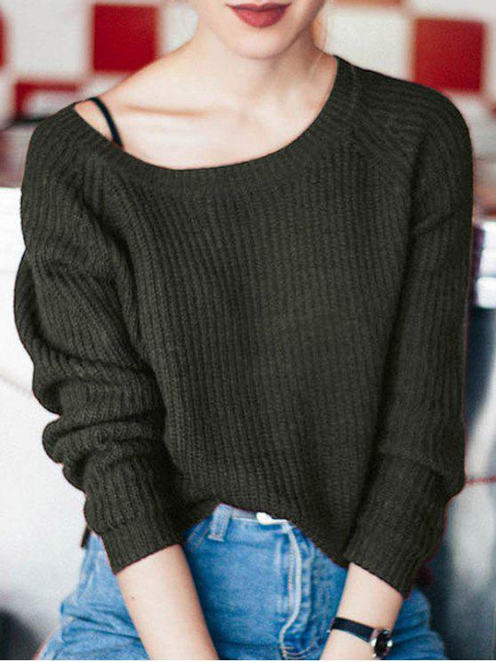 shops Boat Neck Loose Sweater - BLACKISH GREEN ONE SIZE