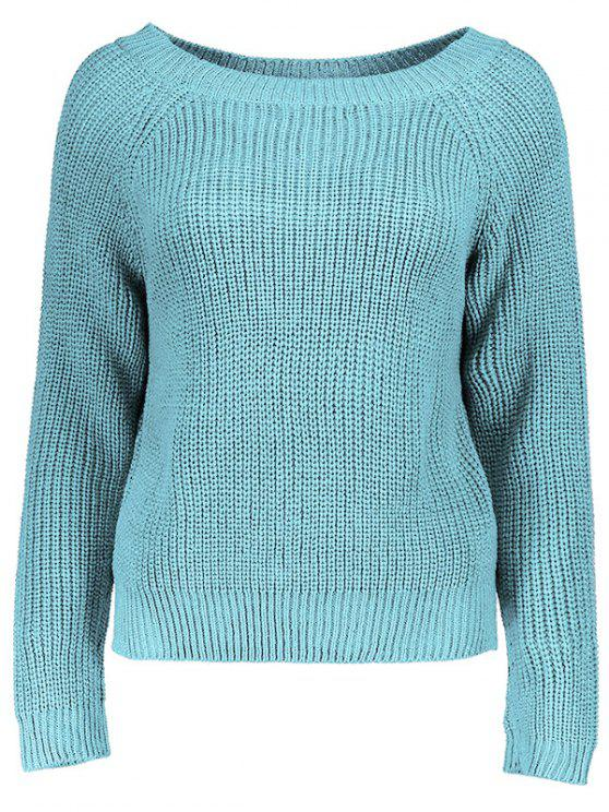trendy Boat Neck Loose Sweater - LAKE BLUE ONE SIZE