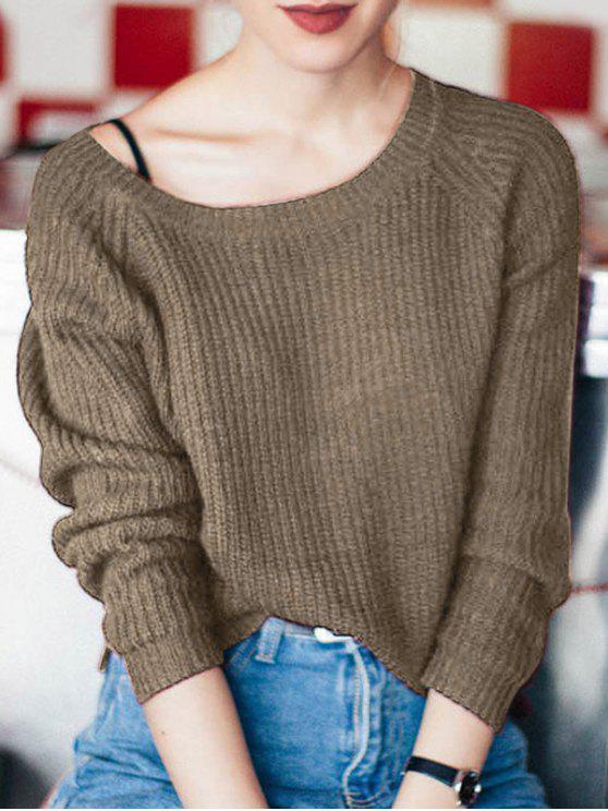 chic Boat Neck Loose Sweater - DARK KHAKI ONE SIZE