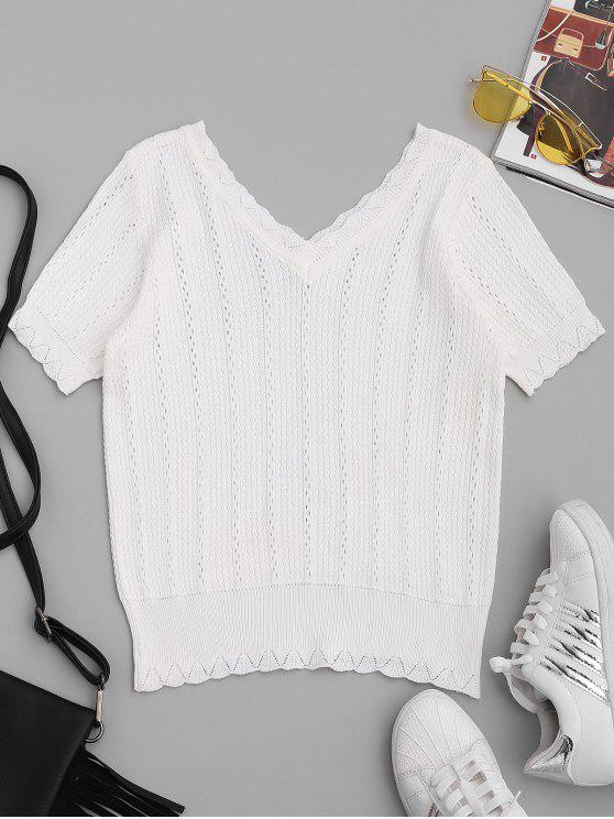 womens Short Sleeve V Neck Knitwear - WHITE ONE SIZE