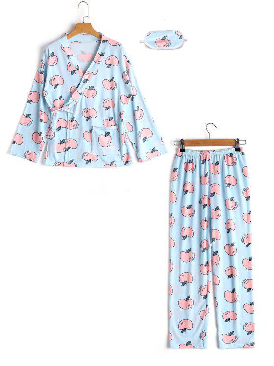 بدلة نوم مزينة بطبعة تفاح - أزرق XL