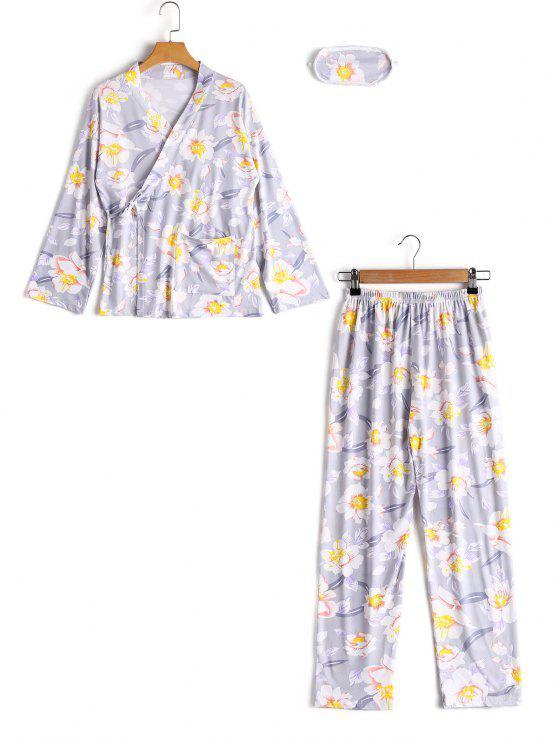 Haut Drapé Floral avec Cordon et Pantalon - Gris M