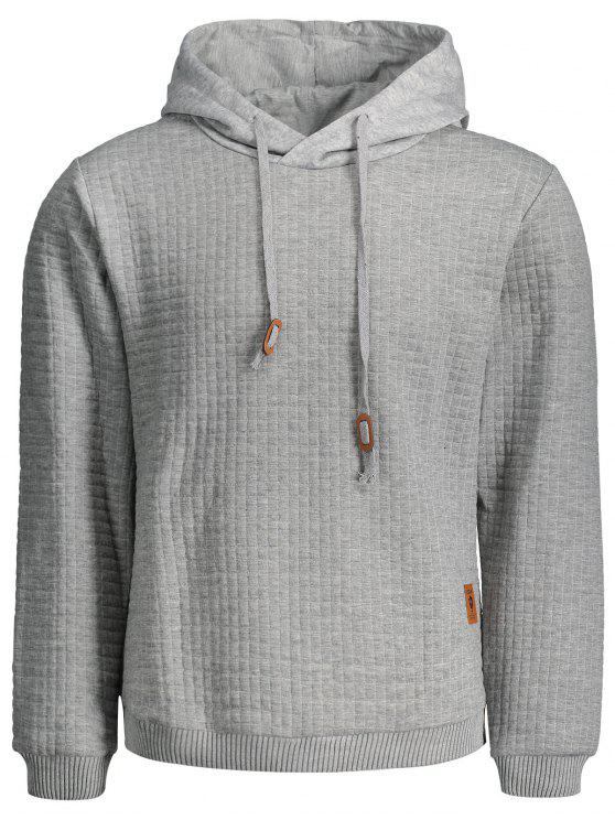 buy Mens Ribbed Trim Hoodie - GRAY 2XL