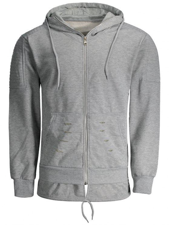 outfit Distressed Zip Up Hoodie - GRAY XL
