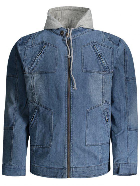fancy Hooded Denim Jacket - DENIM BLUE 3XL