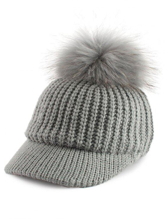 Pom Ball Embellished Knit Baseball Hat - Cinza