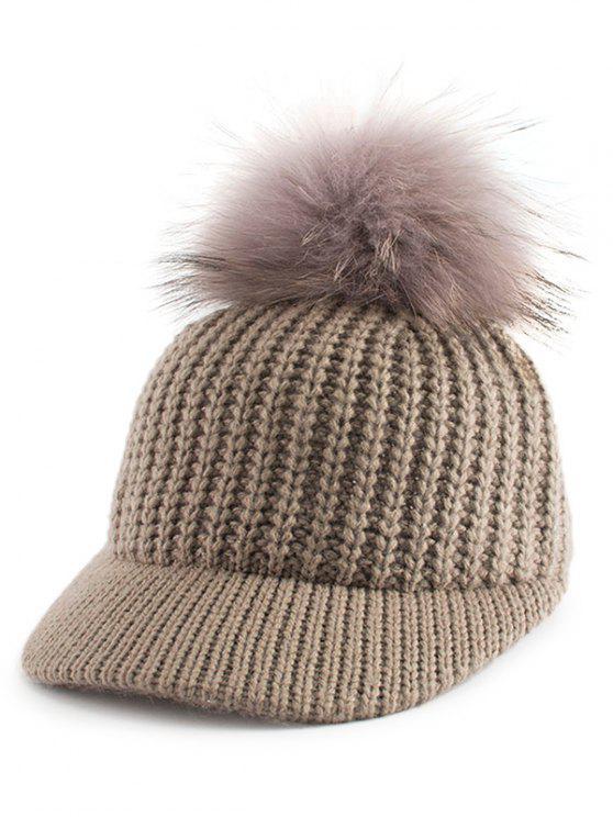 Chapeau de baseball Embellished Knit de Pom Ball - Kaki