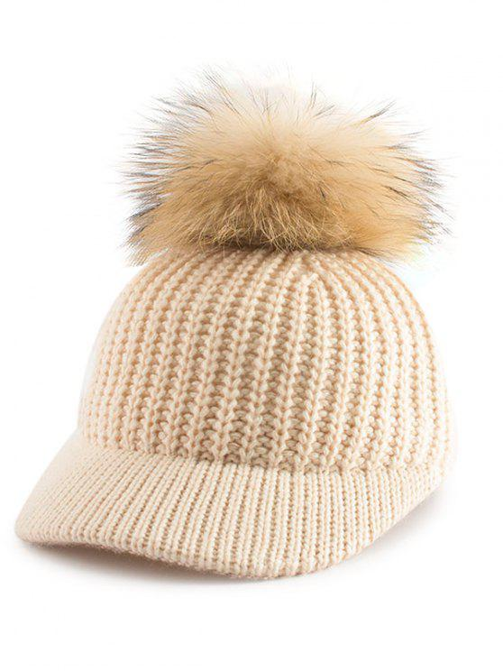 Pom Ball Embellished Knit Baseball Hat - Palomino