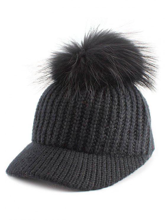 Sombrero de béisbol bordado de la bola de Pom adornado - Negro