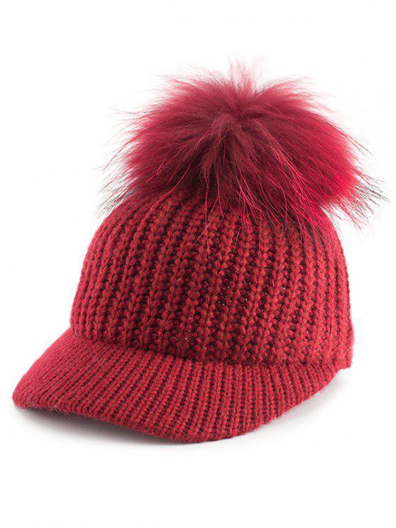 Cappello Da Baseball Abbellito Con Palla A Pom In Maglia - Rosso