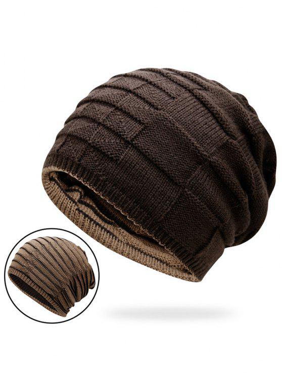 Chapéu de Malha de Bloco de Cores Reversível - Café