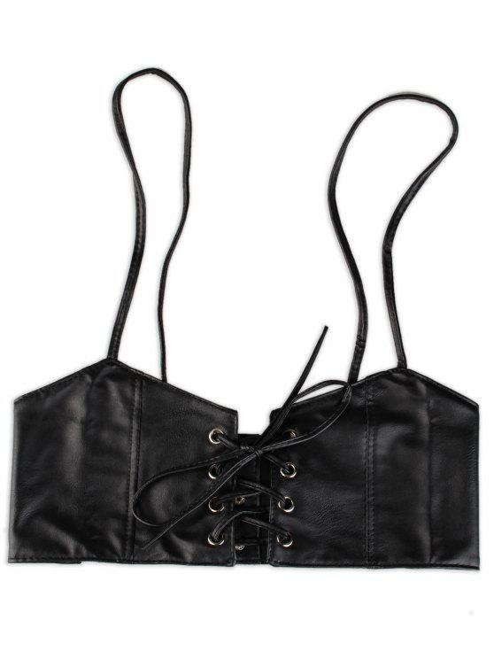 sale Lace Up High Waist Spaghetti Strap Belt - BLACK