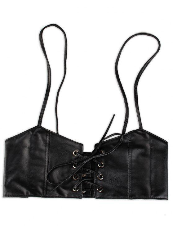 sale Lace Up High Waist Spaghetti Strap Belt - BLACK