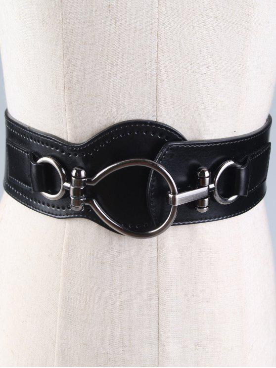 fashion Large Metal Clasp Faux Leather Wide Belt - BLACK