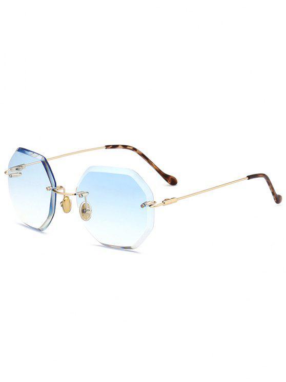 Óculos de Sol Hexagonal sem Aro de Lentes Redondas - Azul claro