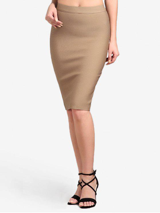 Hohe Taille Plain Bodycon Rock - Khaki S