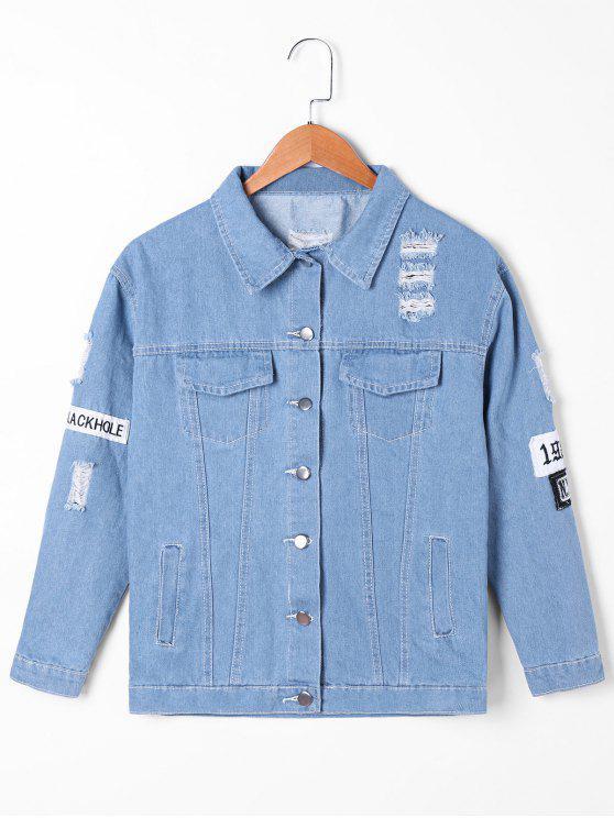 outfit Frayed Appliqued Denim Jacket - DENIM BLUE L