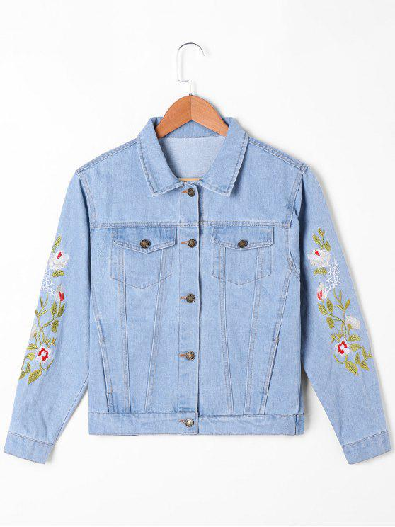 Flap Pockets Embroidery Denim Jacket - Azul claro 2XL