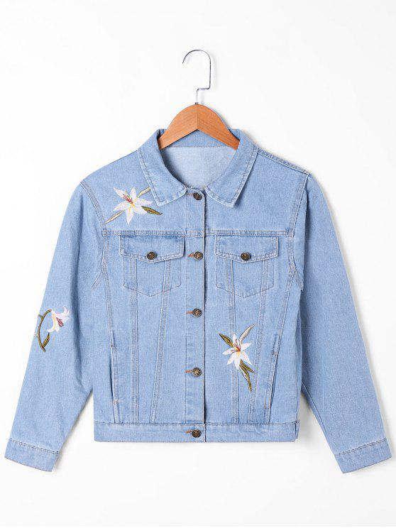 Chaqueta de mezclilla con bolsillos con solapa y bordado de narciso - Azul Claro 2XL