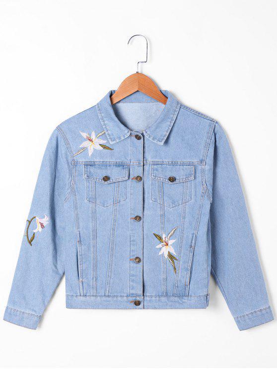Narciso bordado flap bolsos jaqueta de ganga - Azul claro 2XL