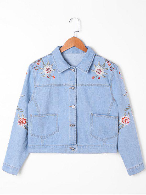 Veste en denim à broderie de poche - Bleu clair 2XL