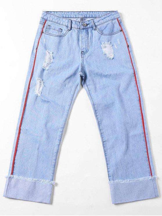 new Frayed Faded Cuffed Jeans - LIGHT BLUE L