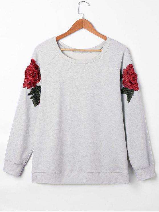 Manteaux à rayures brodés floraux Pullover Sweatshirt - Gris 2XL