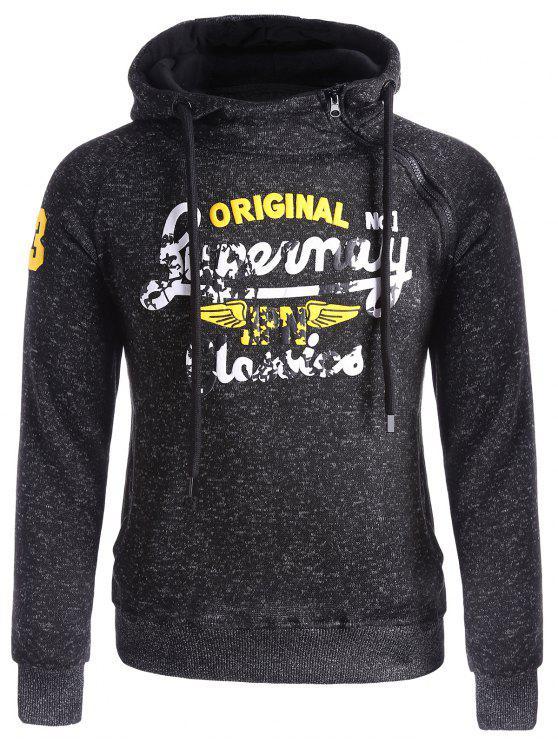 womens Asymetrical Zip Graphic Fleece Hoodie - BLACK 3XL