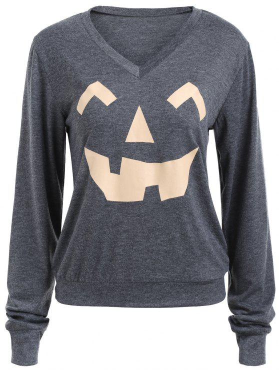 trendy Long Sleeve V Neck Pumpkin Print Halloween Sweatshirt - DEEP GRAY S