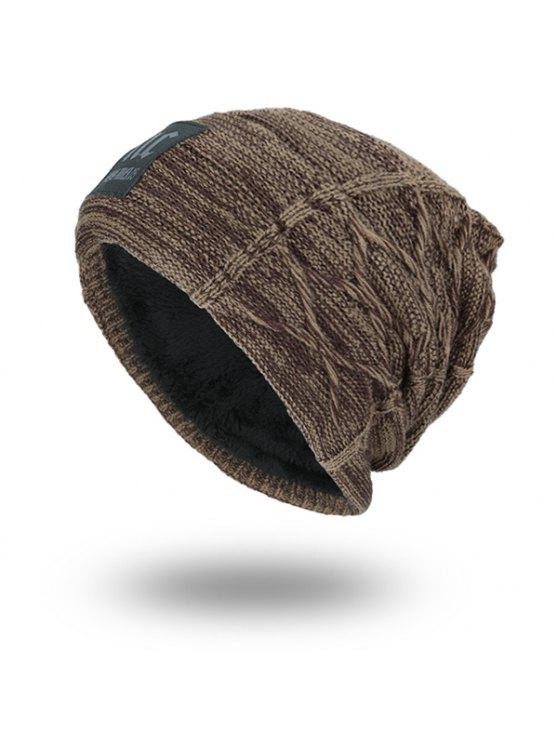 Espesar el sombrero del Knit de la Doble-Cubierta con la etiqueta de las letras - Caqui Oscuro