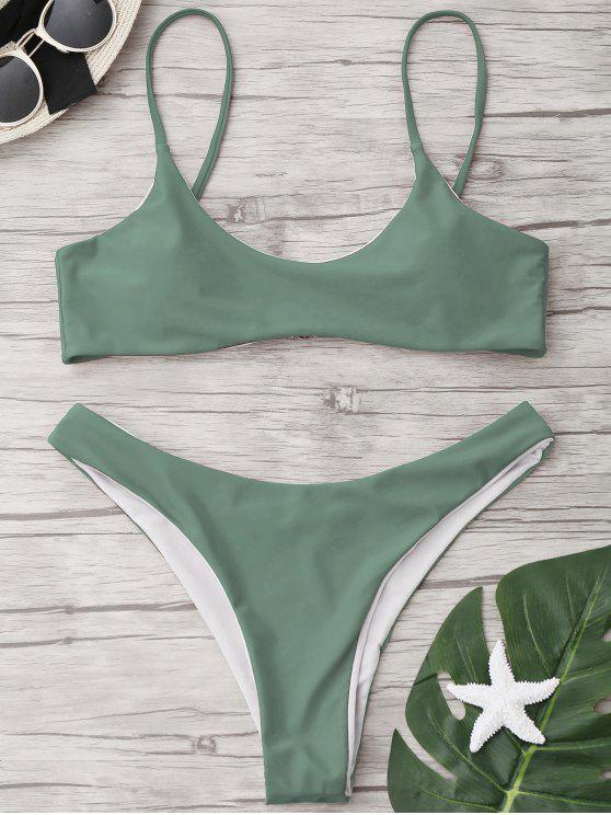 Set di bikini a coda di taglio ad alta taglia - Pisello Verde S