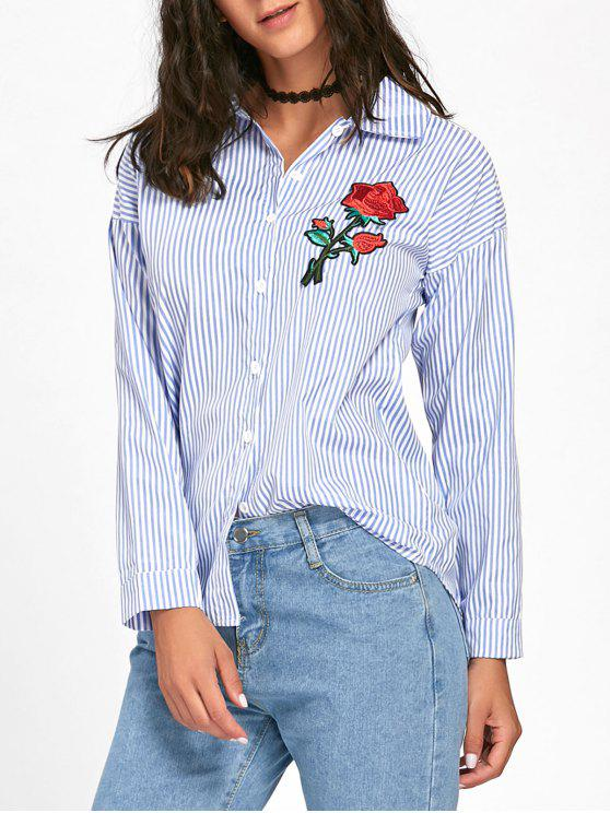 ladies Floral Embroidered High Low Striped Shirt - BLUE 2XL