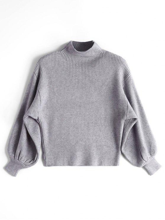 chic Lantern Sleeve Mock Neck Sweater - GRAY ONE SIZE