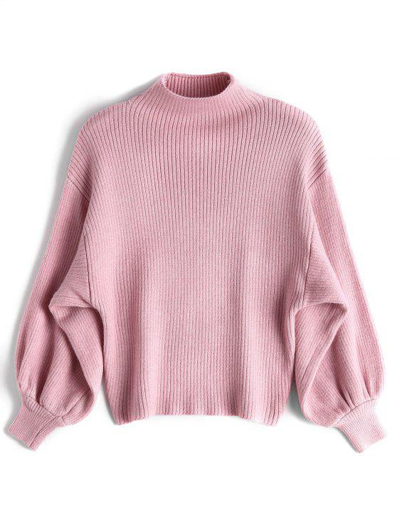 latest Lantern Sleeve Mock Neck Sweater - PINK ONE SIZE